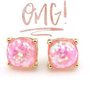 🤩 Hot Pink Glitter Gumdrop Stud Earrings